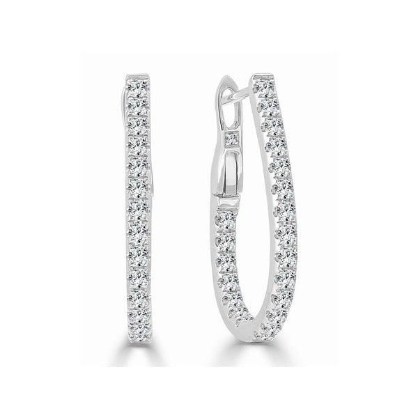 "Diamond Inside/Out 0.75"" Hoop Earrings"