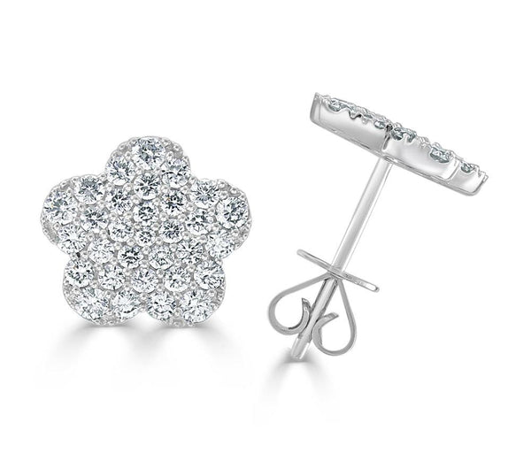 18K GOLD DIAMOND FLOWER EARRING