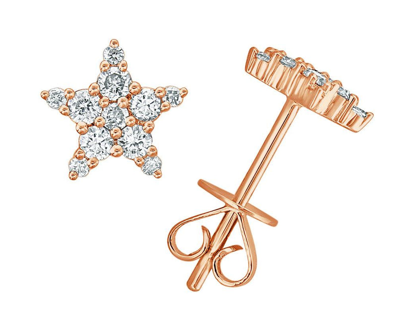 Sabrina Designs 18K Rose Gold Diamond Star Studs