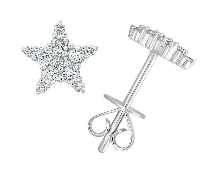Sabrina Designs 18K White Gold Diamond Star Studs