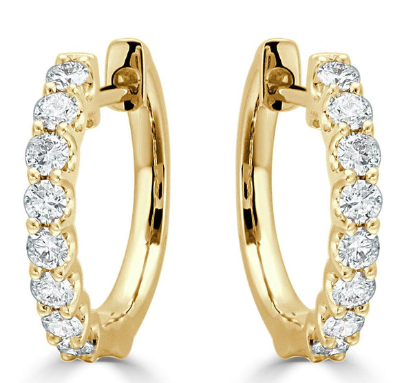 18K GOLD ROUND DIAMOND HOOP