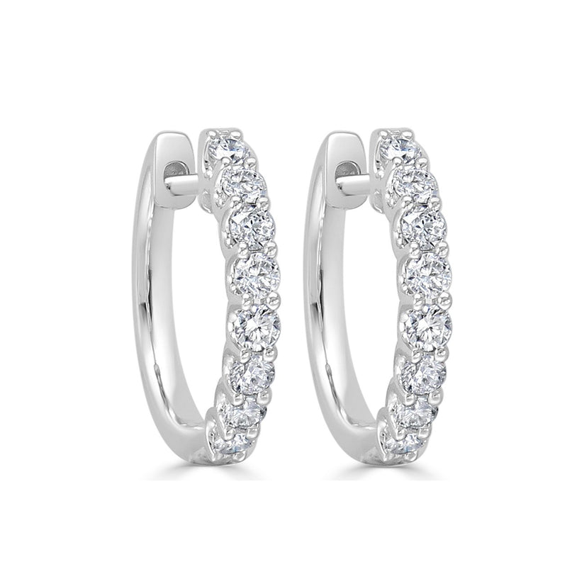 Sabrina Designs 18k White Gold Round Diamond Hoops