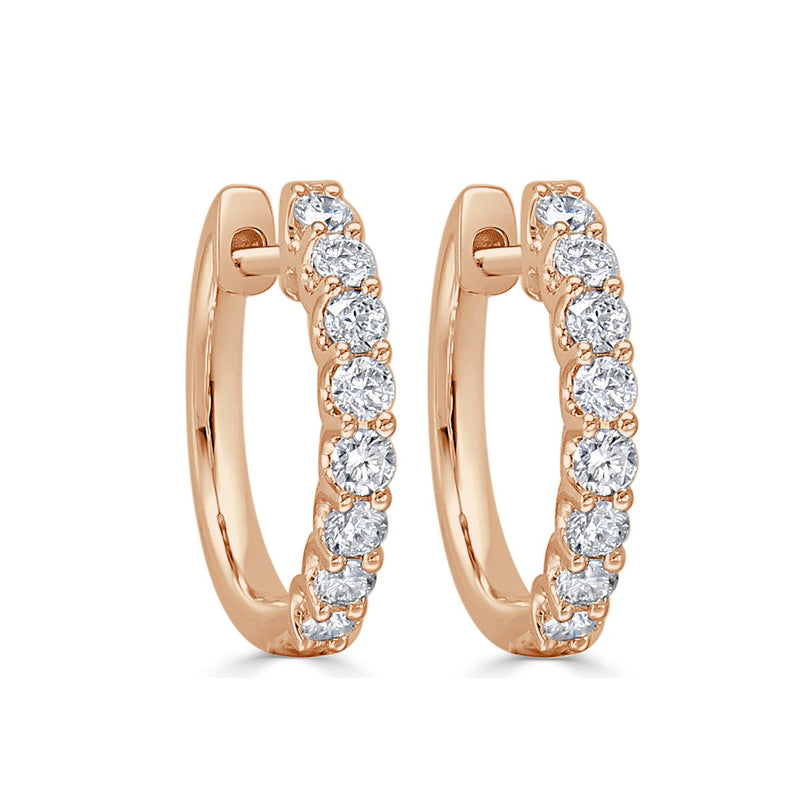 Sabrina Designs 18k Rose Gold Round Diamond Hoops