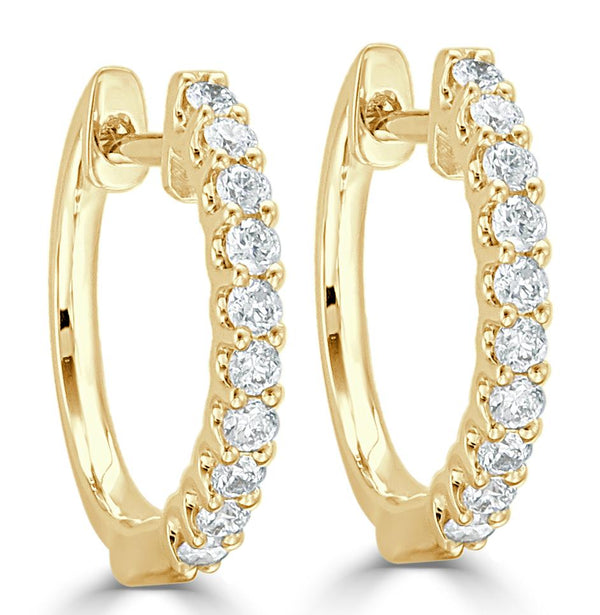 18K GOLD ROUND DIAMOND HOOPS