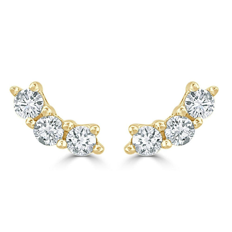 18K GOLD DIAMOND CURVED BAR EARRING