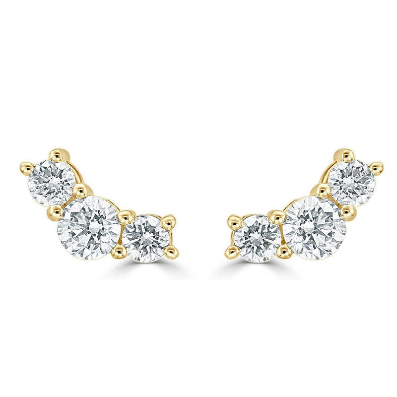 18K GOLD DIAMOND MED CURVED BAR EARRING