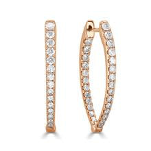 "Inside/Out Pointed Marquise 1"" Diamond Hoop Earrings"