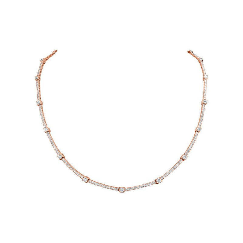 Sabrina Designs 18K Rose Gold Diamond Tennis Necklace