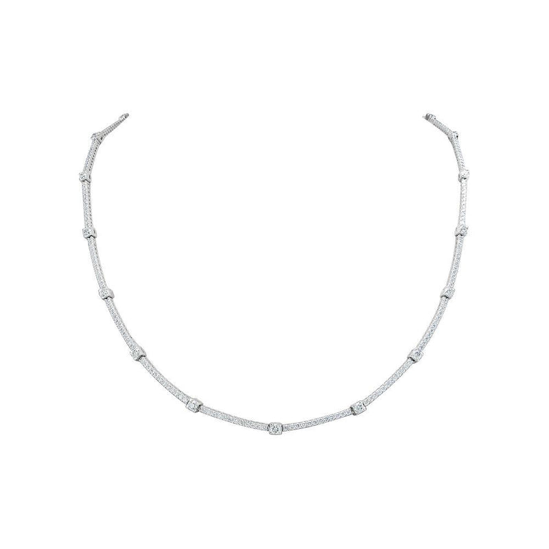 Sabrina Designs 18K White Gold Diamond Tennis Necklace