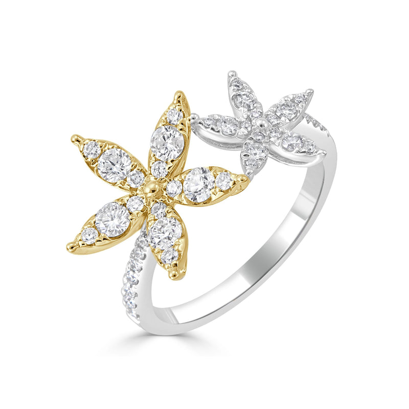 Sabrina Designs 18k Gold Diamond Double Flower Ring