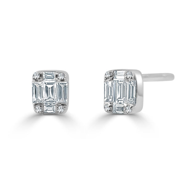 Sabrina Designs 14k White Gold Diamond Baguette Studs