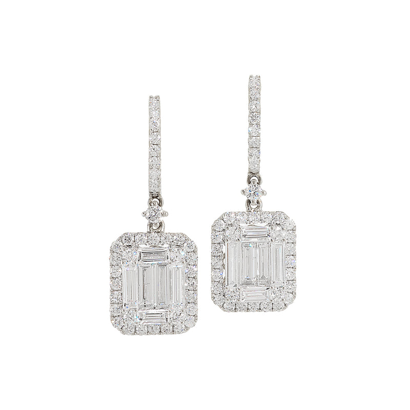 Baguette Diamond Illusion Earrings