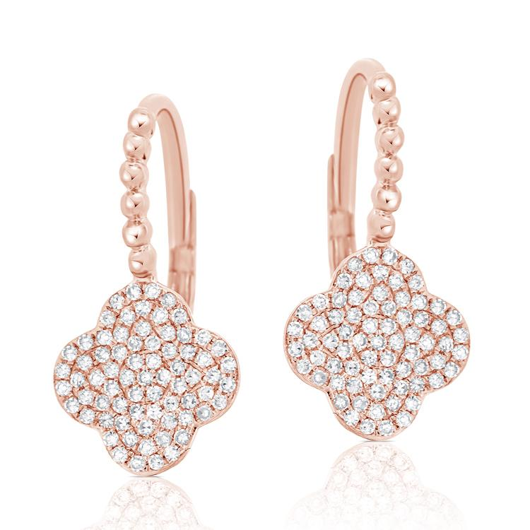 14K GOLD DIAMOND CLOVER EARRINGS