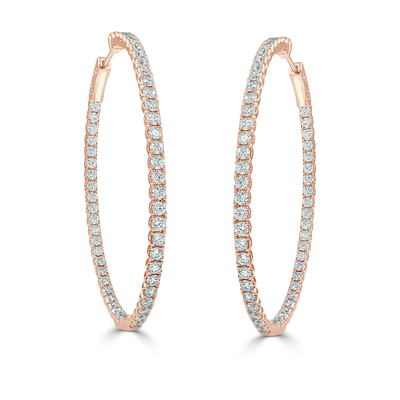 Sabrina Designs 14k Rose Gold Diamond 3.60 ct. Oval Hoops