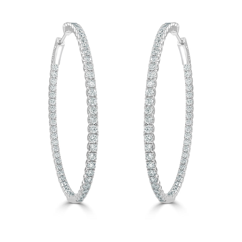 Sabrina Designs 14k White Gold Diamond 3.60 ct. Oval Hoops