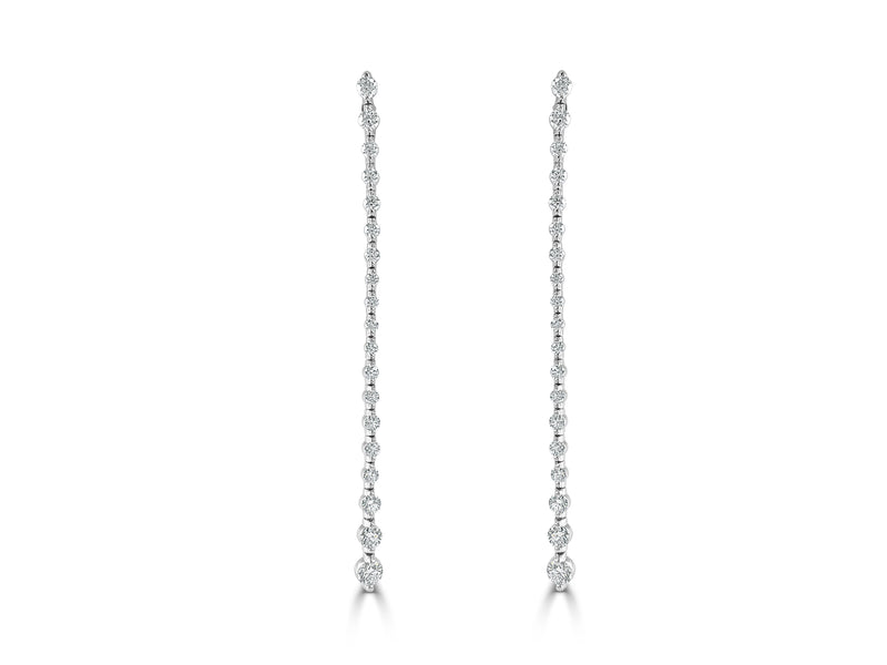 Sabrina Designs 14K White Gold Long Diamond Dangle Earrings