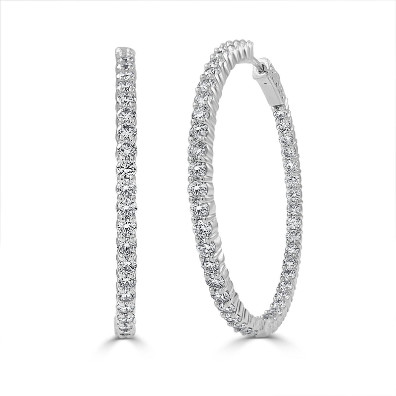 Sabrina Designs 14k White Gold Inside Out Diamond Hoop Earrings