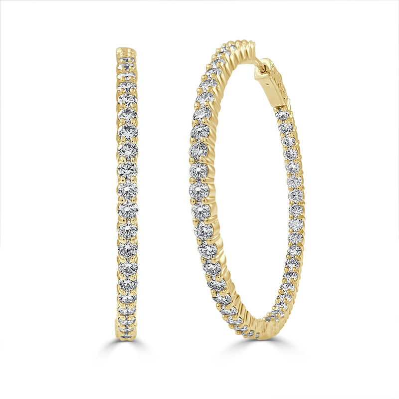 Sabrina Designs 14k Yellow Gold Inside Out Diamond Hoop Earrings