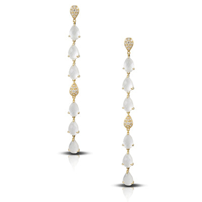 Doves Mother of Pearl and Diamond Drop Earrings