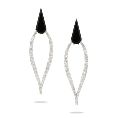 Doves Geometric Open Onyx and Diamond Earring