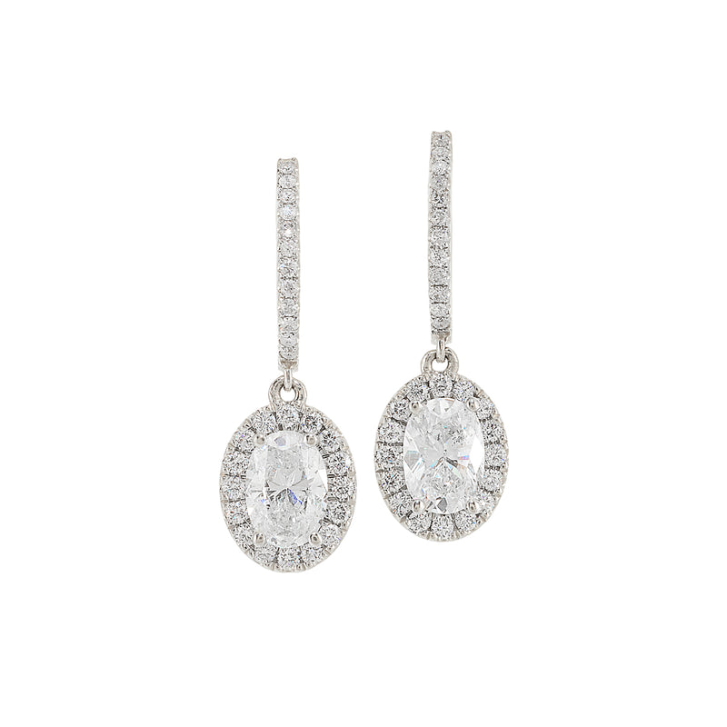 Oval Diamond Halo Earring with Hoop Top