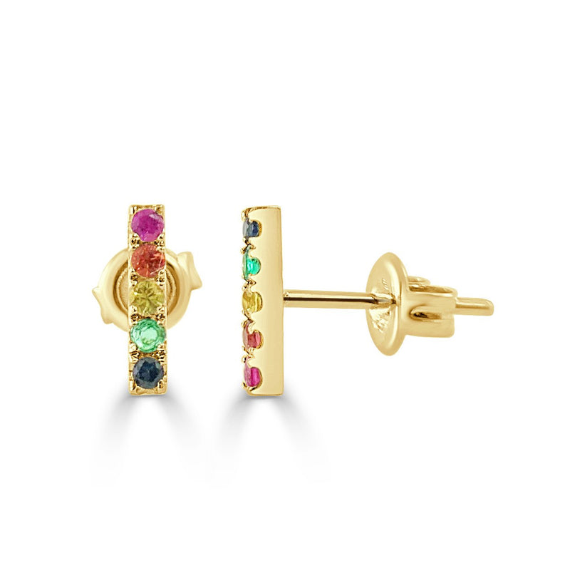 14K Rainbow Sapphire Bar Earrings