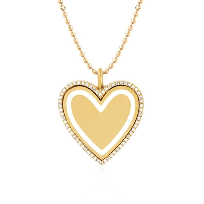 EF COLLECTION DIAMOND & WHITE ENAMEL HEART NECKLACE