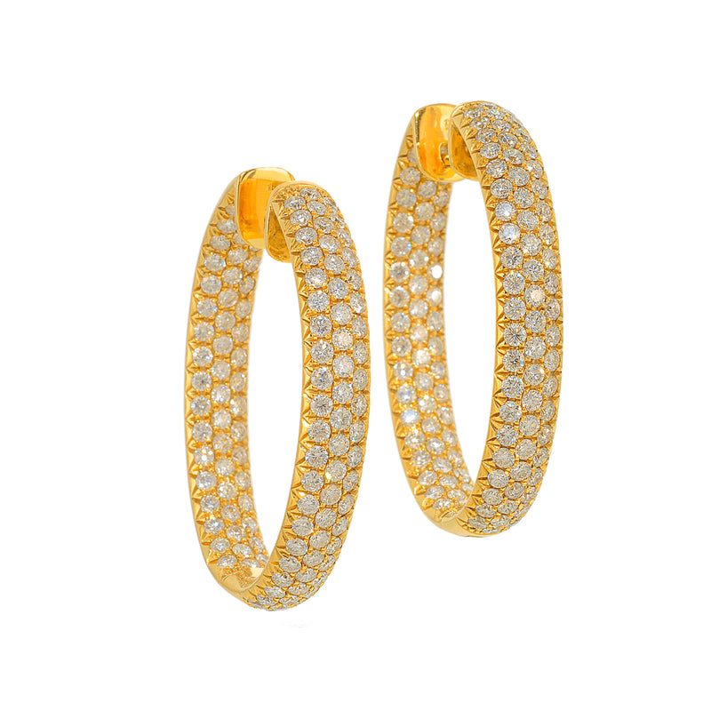 Yellow Gold Pave Hoop Earrings