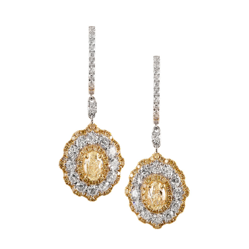 White and Yellow Diamond Scalloped Drop Earrings