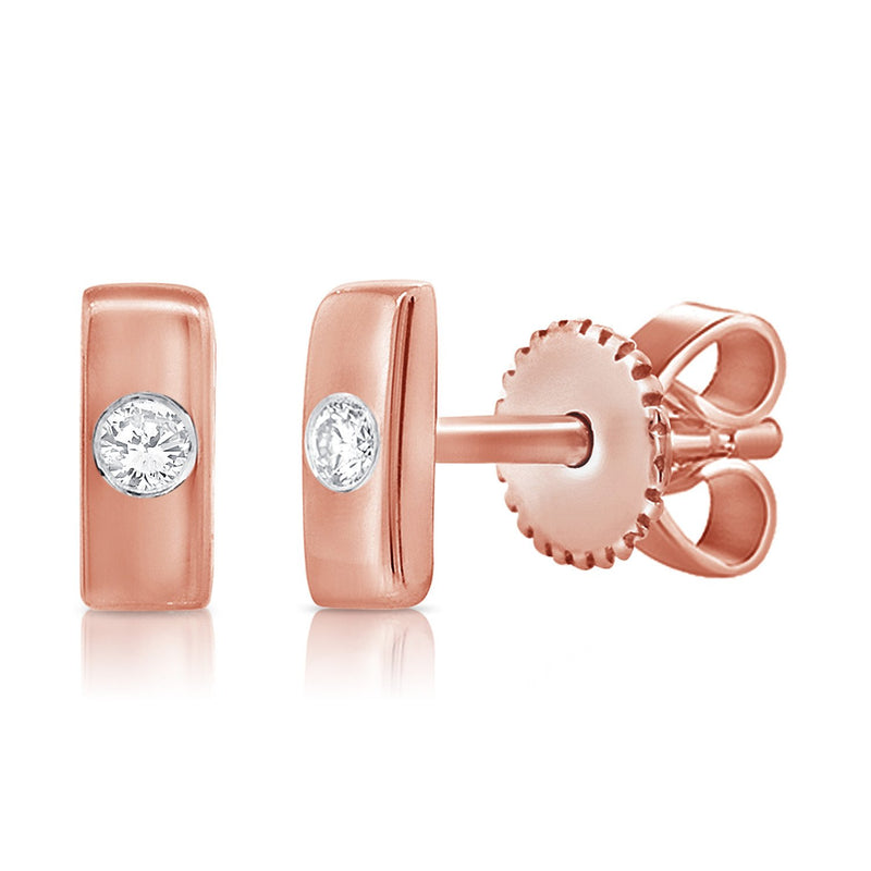 Sabrina Designs 14k Rose Gold Diamond Bar Stud Earrings