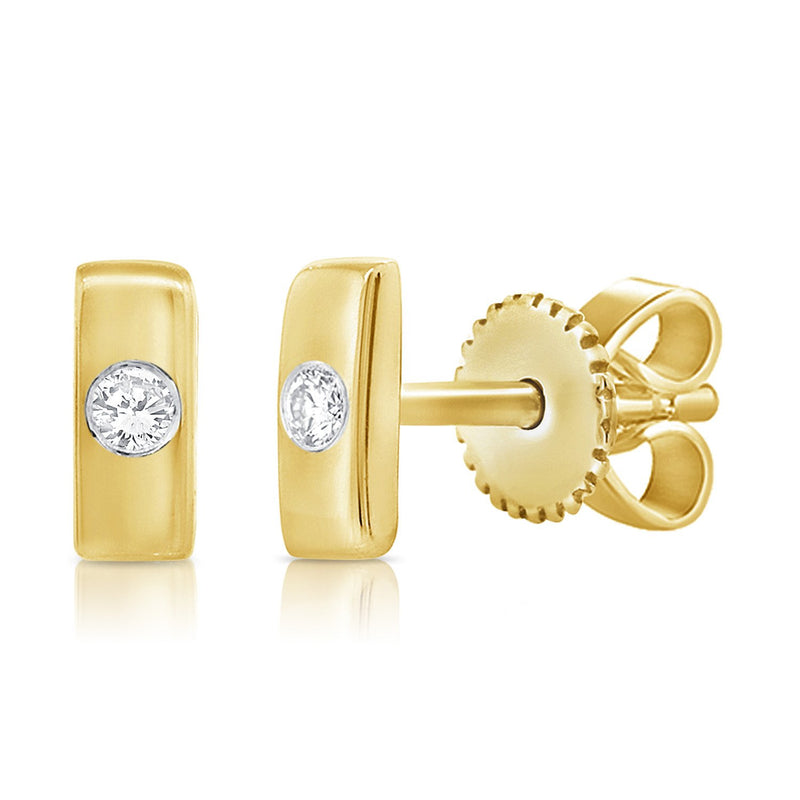 Sabrina Designs 14k Yellow Gold Diamond Bar Stud Earrings