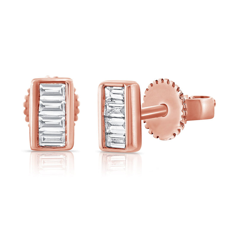 Sabrina Designs 14k Rose Gold Baguette Diamond Studs