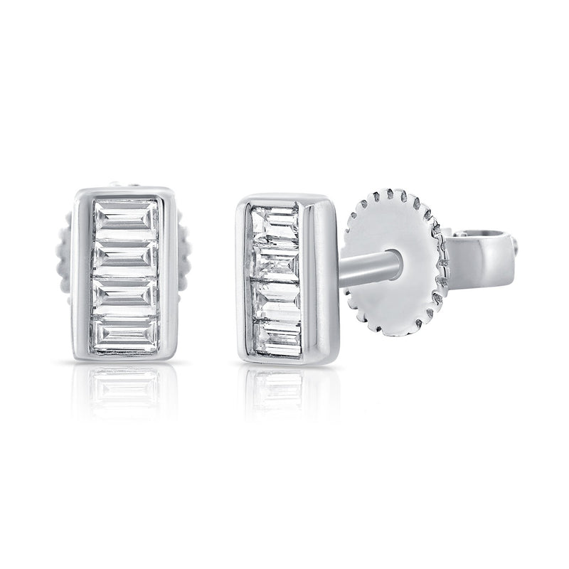 Sabrina Designs 14k White Gold Baguette Diamond Studs