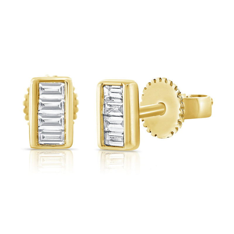 Sabrina Designs 14k Yellow Gold Baguette Diamond Studs
