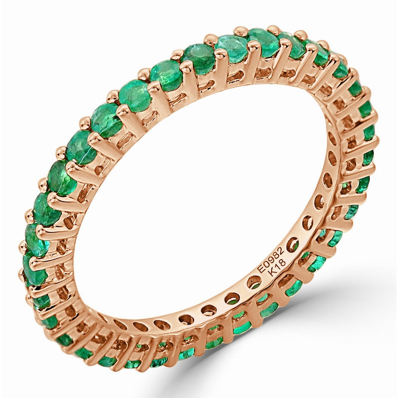 Sabrina Designs 14K Rose Gold Green Emerald Eternity Ring