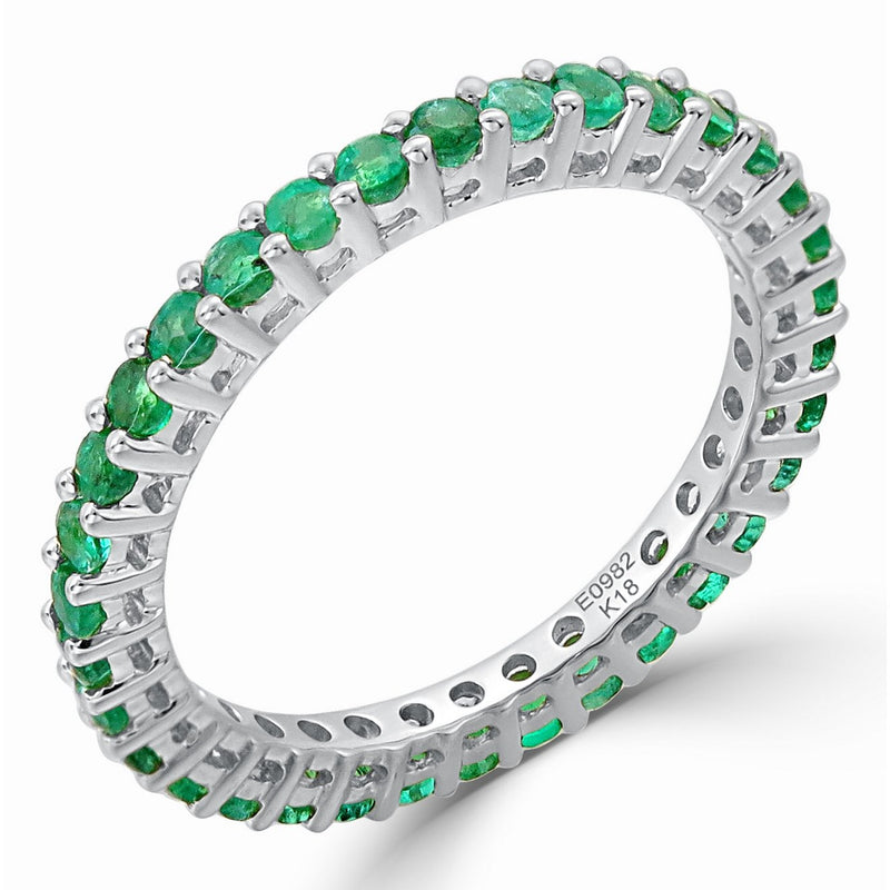 Sabrina Designs 14K White Gold Green Emerald Eternity Ring