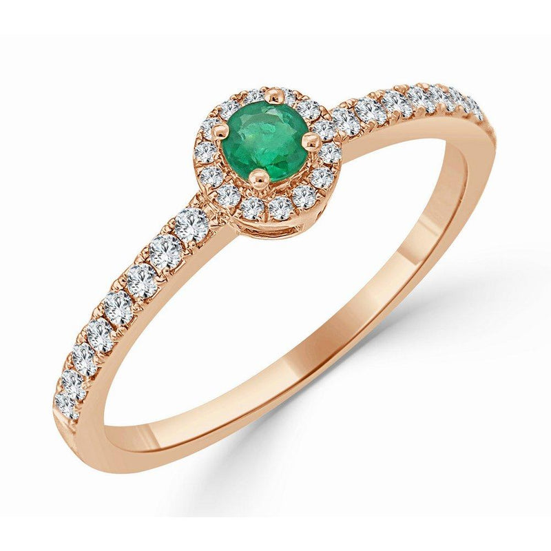 18K Gold Diamond & Emerald Halo Ring