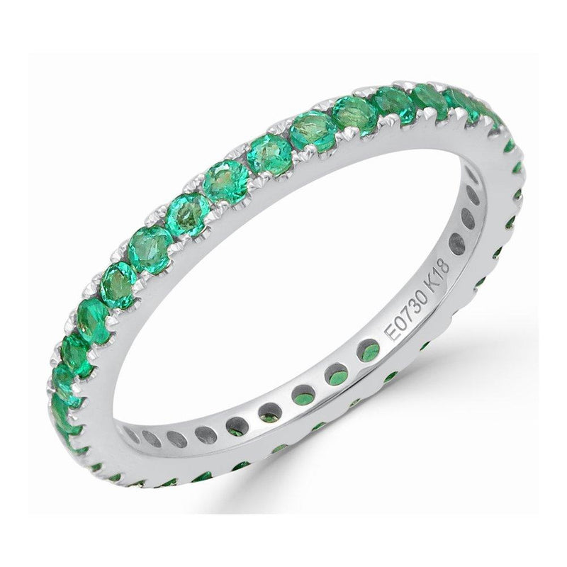 "<p style=""white-space: pre-wrap;"">18K Gold &amp; Emerald E-0.73CT Stackable Eternity Ring"