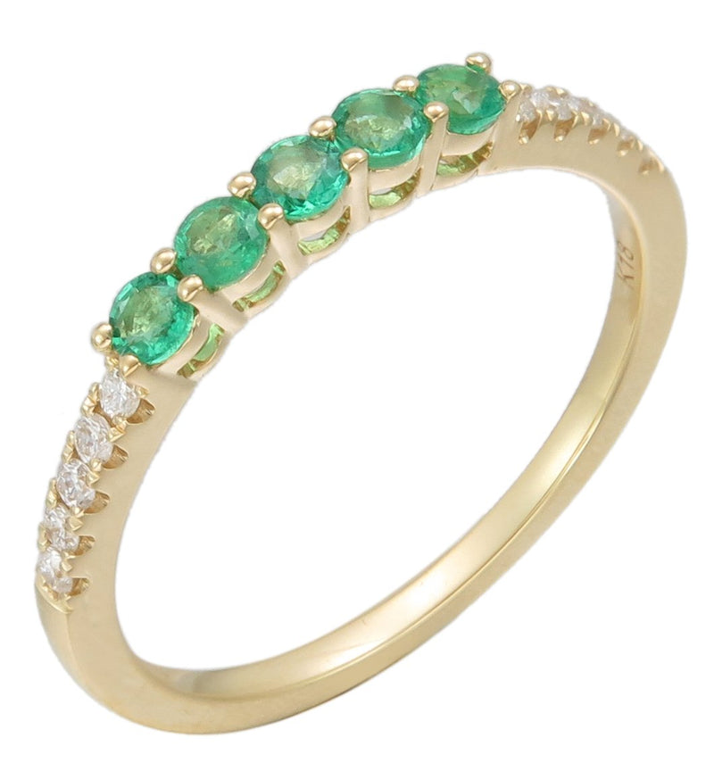 Sabrina Designs 18K Yellow Gold Diamond and Emerald Stackable Ring