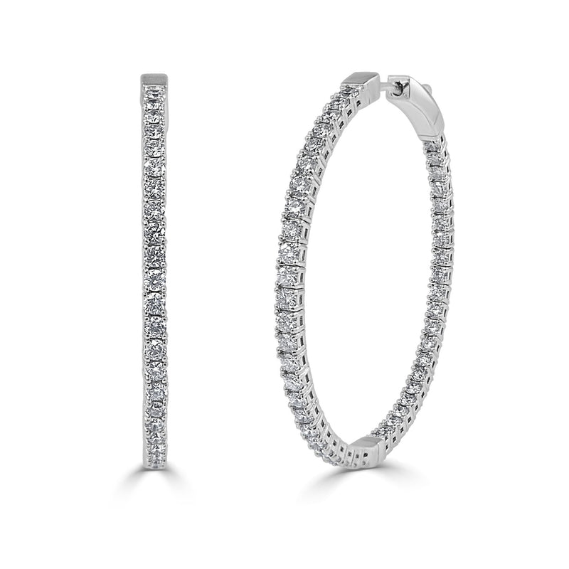 Sabrina Designs Inside Out 14k White Gold Flexible Diamond Hoop Earrings