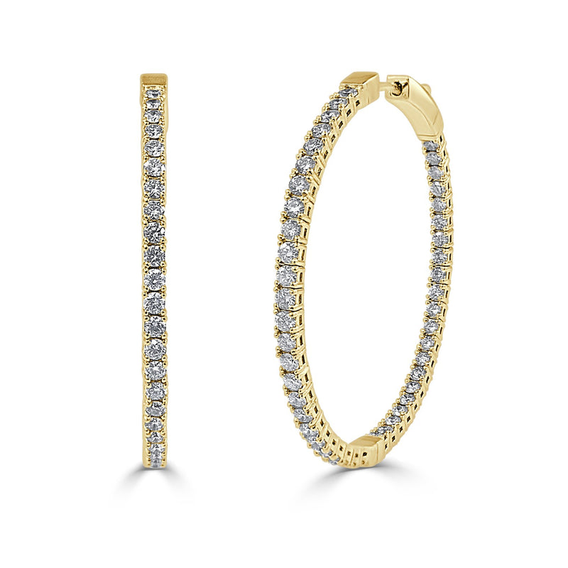 Sabrina Designs Inside Out 14k Yellow Gold Flexible Diamond Hoop Earrings