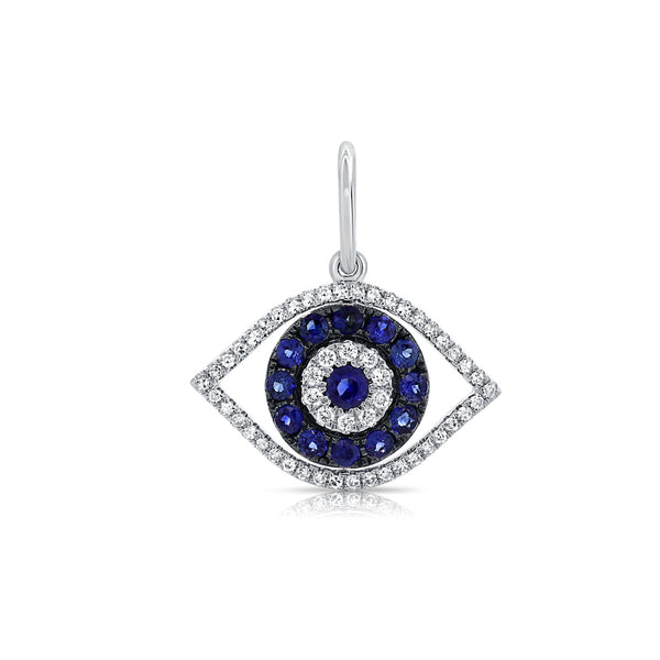 SAPPHIRE AND DIAMOND EVIL EYE CHARM