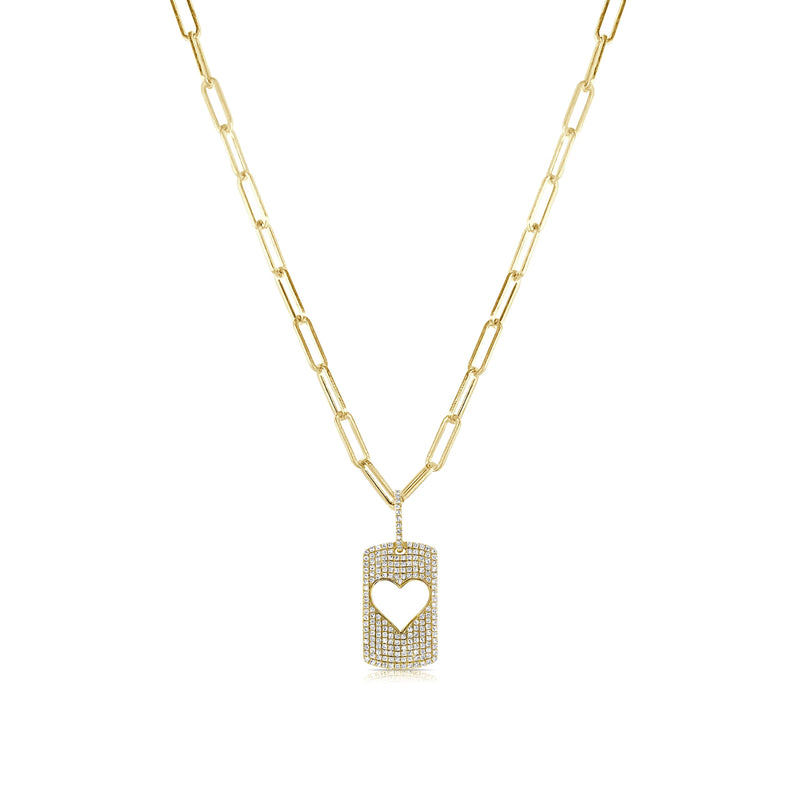 Pave Heart Dogtag Necklace