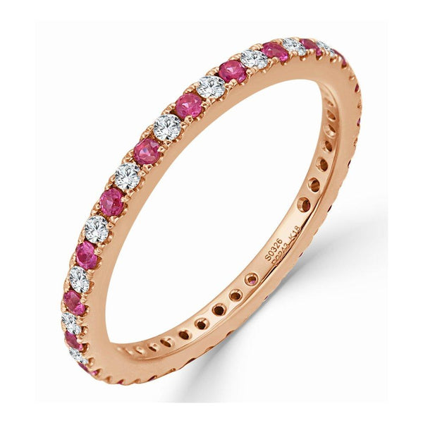 18K Gold Diamond & Pink Sapphire Stackable Ring