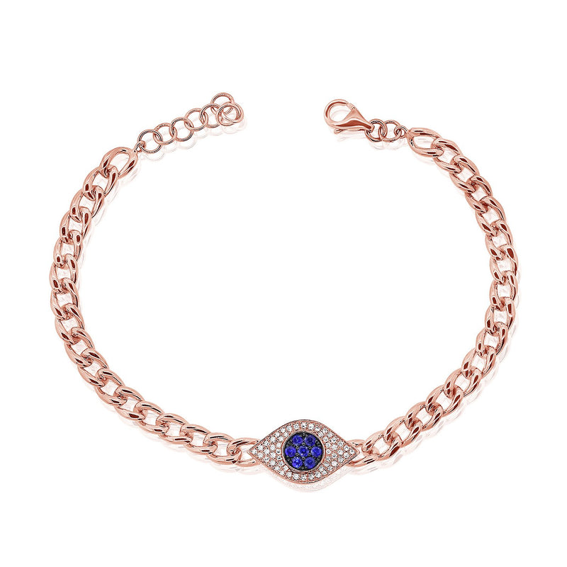Sabrina Designs 14k Rose Gold Diamond & Sapphire Evil Eye Link Bracelet