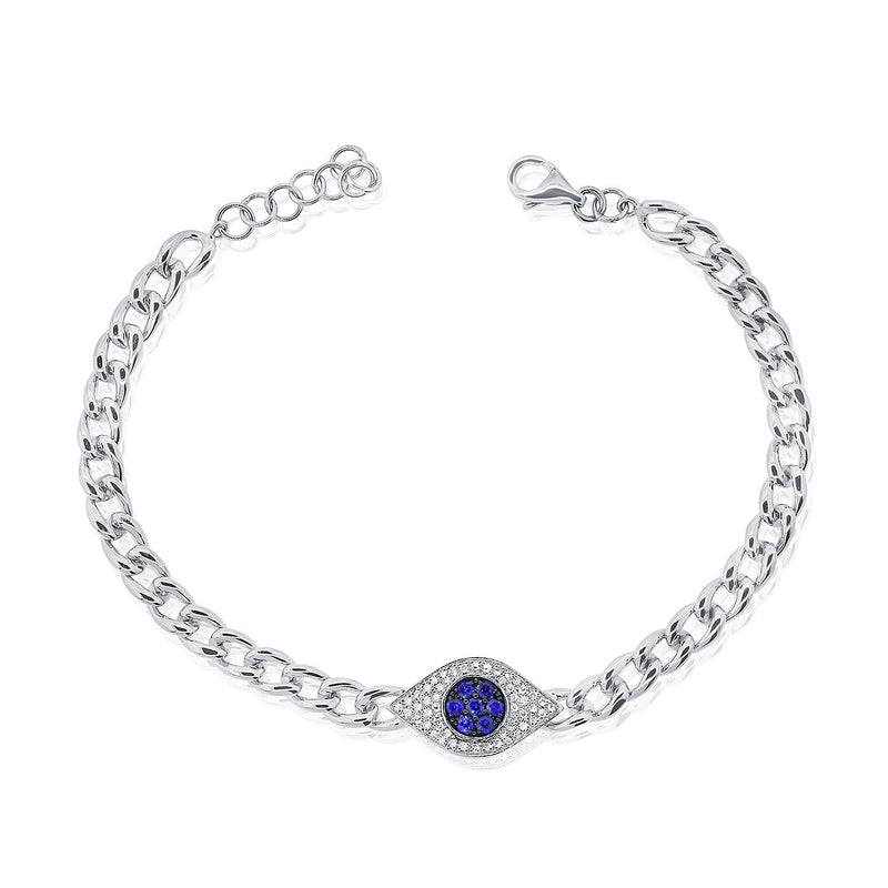 Sabrina Designs 14k White Gold Diamond & Sapphire Evil Eye Link Bracelet