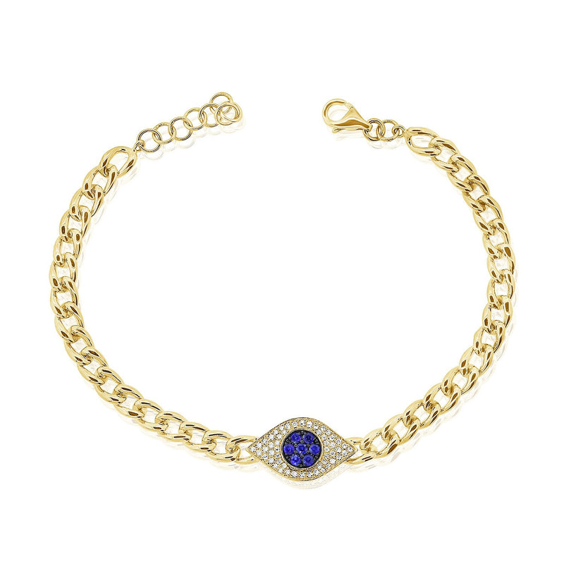 Sabrina Designs 14k Yellow Gold Diamond & Sapphire Evil Eye Link Bracelet