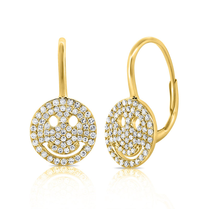 14K Gold Diamond Smiley Face Earrings