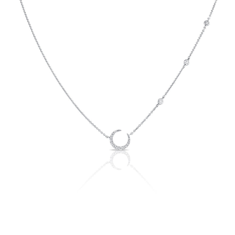 14K Gold Diamond Moon Necklace