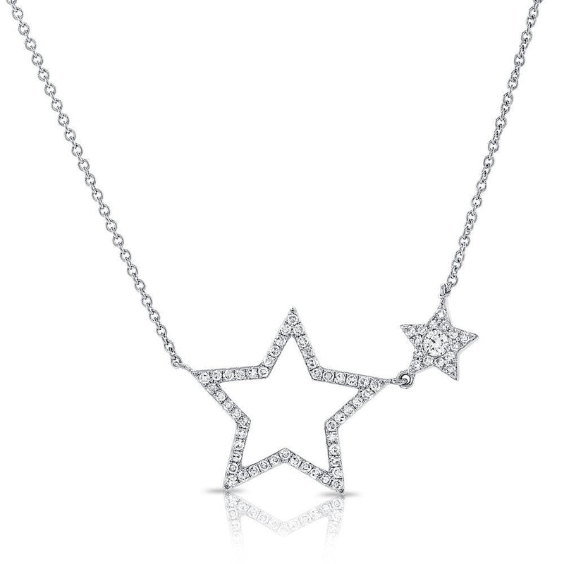 Sabrina Designs 14k White Gold Diamond Open Star Necklace